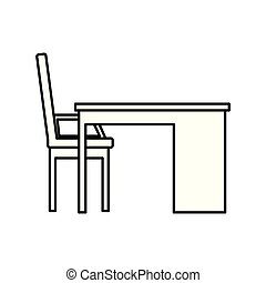 chaise, scène, bureau bureau
