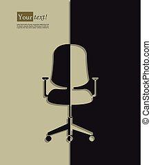chaise, silhouette, bureau