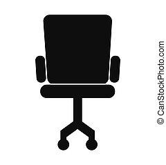 chaise, silhouette, bureau, icône