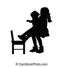 chaise, silhouette, enfants, illustration