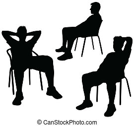 chaise, silhouette, homme