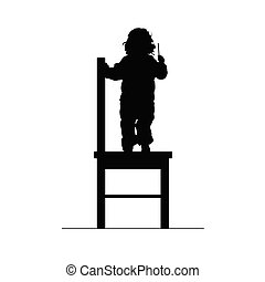 chaise, silhouette, illustration, enfant