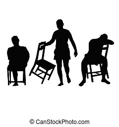 chaise, silhouette, illustration, homme
