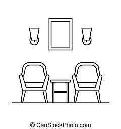 chaise, style, intérieur, contour, fauteuil
