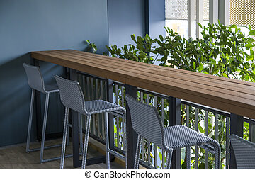 chaise, terrasse, vide, table