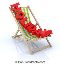 chaise, vacances, plage, écrit