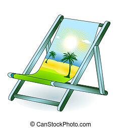 chaise, vacances, rêve, pont