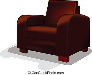 chaise, vecteur, baquet, cuir, rouges