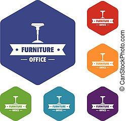 chaise, vecteur, hexahedron, icônes bureau