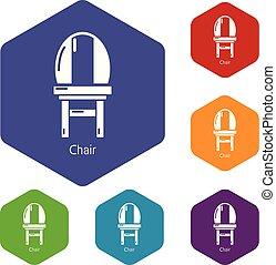 chaise, vecteur, hexahedron, icônes