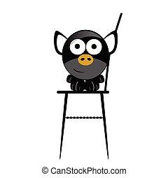 chaise, vecteur, porcin, illustration
