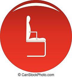 chaise, vecteur, rouges, icône