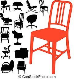 chaise, vecteur, silhouettes