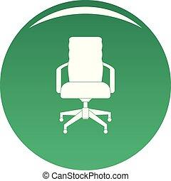 chaise, vecteur, vert, bureau, icône