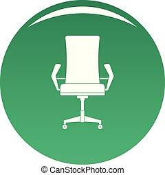 chaise, vecteur, vert, confortable, icône