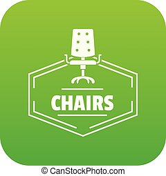 chaise, vecteur, vert, icône