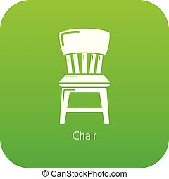 chaise, vecteur, vert, retro, icône