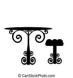 chaise, vendange, table, silhouette