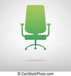 chaise, vert, bureau, icône