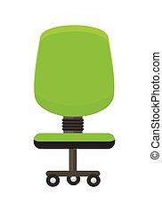 chaise, vert, icon., bureau