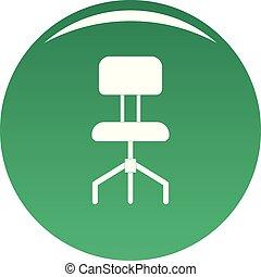 chaise verte, vecteur, dur, icône
