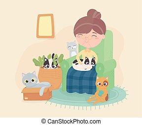 chaise, vieille femme, autres, elle, chat, jouer, salle, séance