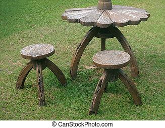 chaise, vieux, jardin