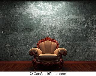 chaise, vieux, mur, béton