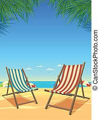 chaises, été, plage, fond
