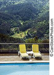 chaises, 2, piscine, long