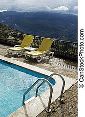 chaises, 3, piscine, long