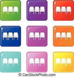 chaises, 9, ensemble, couloir départ