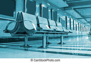 chaises, attente, station, secteur