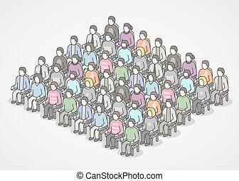 chaises, audience., séance gens