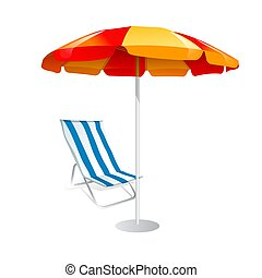 chaises, blanc, parasol, fond, pont
