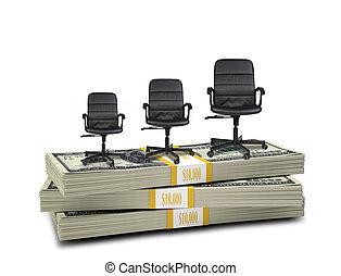 chaises bureau, argent, sommet, trois, pile
