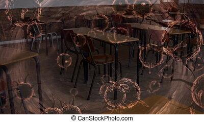chaises, bureaux, vide, animation, cellules, enduisage, coronavirus, école, sur, cla, covid-19, macro