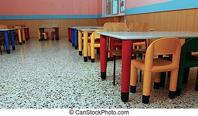 chaises, cantine, école, réfectoire