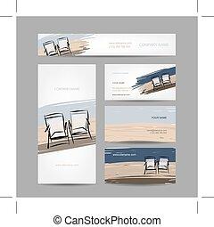 chaises, cartes, plage, conception, business