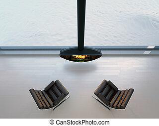 chaises, cheminée