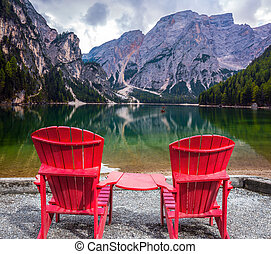 chaises, confortable, deux, rouges, pont