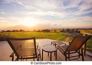 chaises, coucher soleil, pont