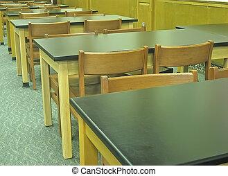 chaises, démodé, school., bureaux