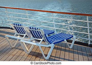 chaises, deux, pont
