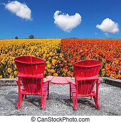 chaises, deux, rouges, plastique
