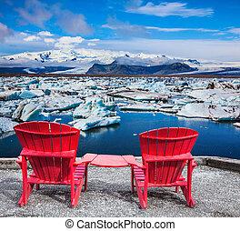 chaises, deux, rouges, pont