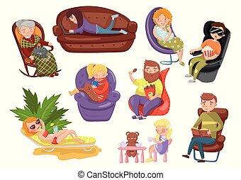 chaises, différent, style de vie, séance gens, vecteur, illustrations, sédentaire, dessin animé, mensonge