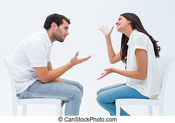 chaises, discuter, couple, séance