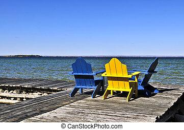 chaises, dock, lac, bois