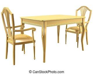 chaises, doré, table